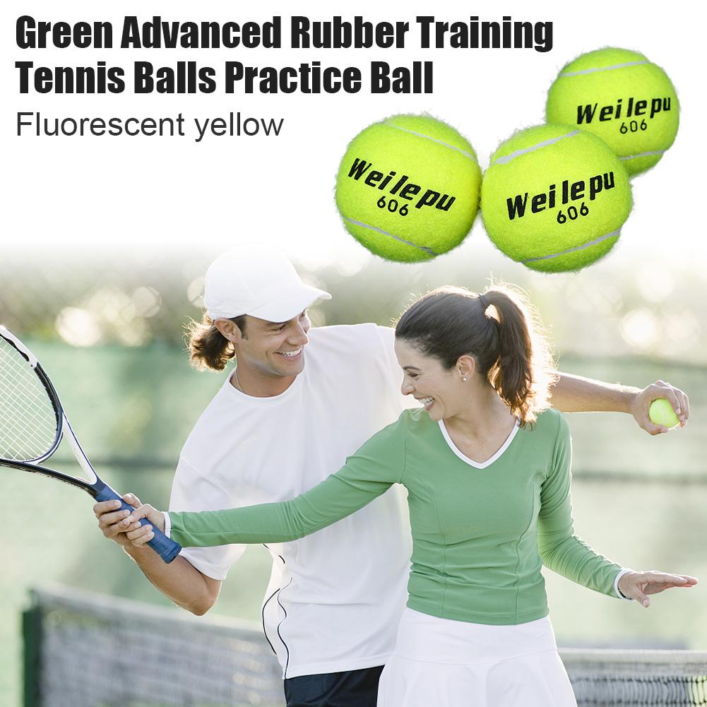 3pcs New Good Elasticity Green Advanced Rubber Training Tennis Balls Practice Ball Durable And Strong Hygroscopic Trainning Ball
