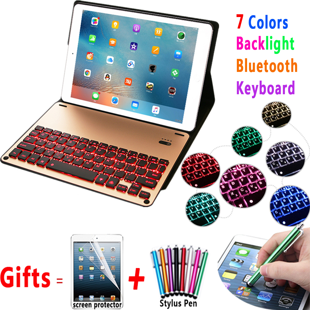 7 Colors Light Wireless Removeable Bluetooth Keyboard Smart Case Cover for Apple iPad Air 1 2 Pro 9.7 New iPad 9.7 2017 2018 цена