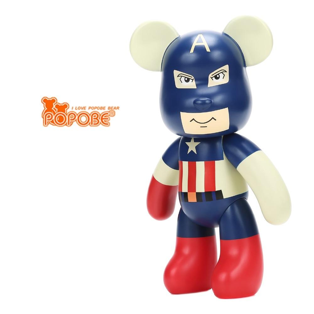 ФОТО 10 inch Cartoon Popobe Gloomy Bear Captial America Vinyl Toys 25cm Violence Bear Momo BEARBRICK