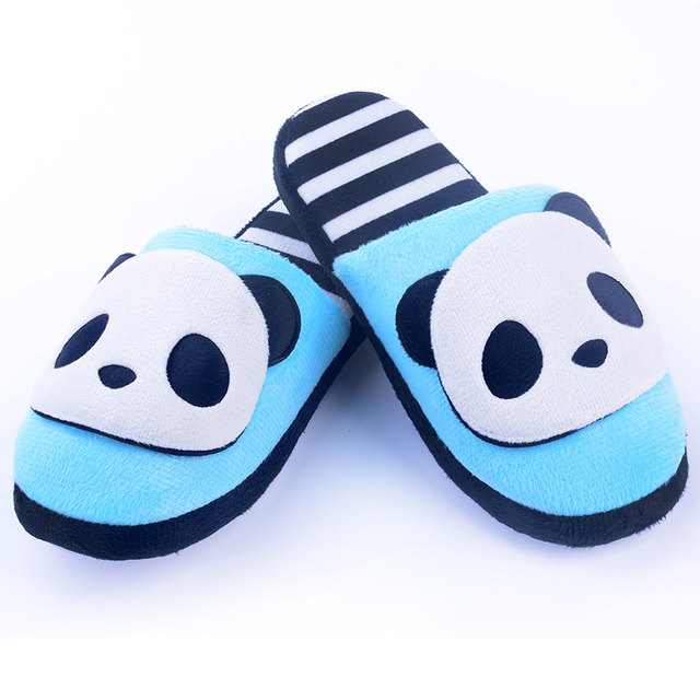 2016 Indoor Slipper Cartoon Blue Panda House Slippers Women s Shoes Spring  and Autumn Shoes Home Slippers for Girls Boys 34a744d2d0