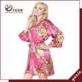 FR0008 Floral Robes De Seda De Cetim Mulheres Kimono Robe de Casamento Nupcial Da Dama de Honra Lady Spa Robe Noite Vestido Frete Grátis