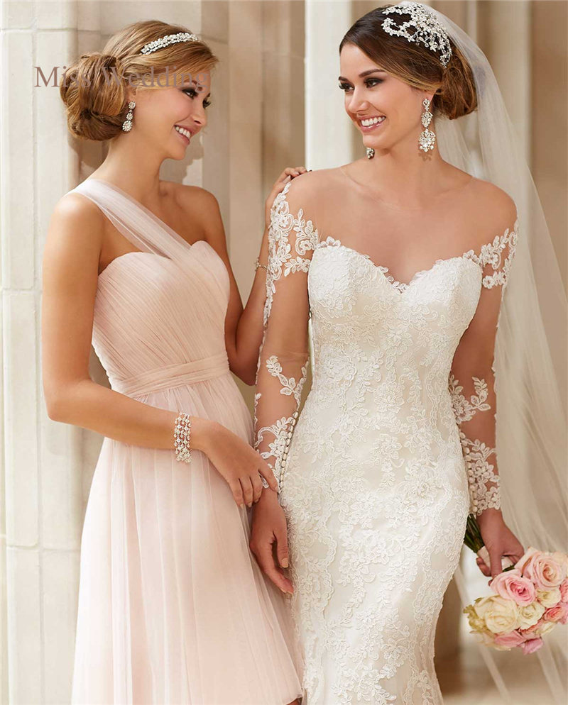 Long Sleeve Lace Wedding Dress Vintage Style White Ivory Sweetheart Neckline Illusion Back Mermaid Skirt Customized Bridal In Dresses From