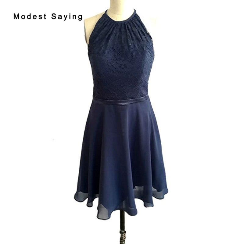 Réel nouvelle mode bleu marine courte dentelle retour robes 2017 pour taille 18 filles Mini 8th grade Graduation robes sur mesure BH12
