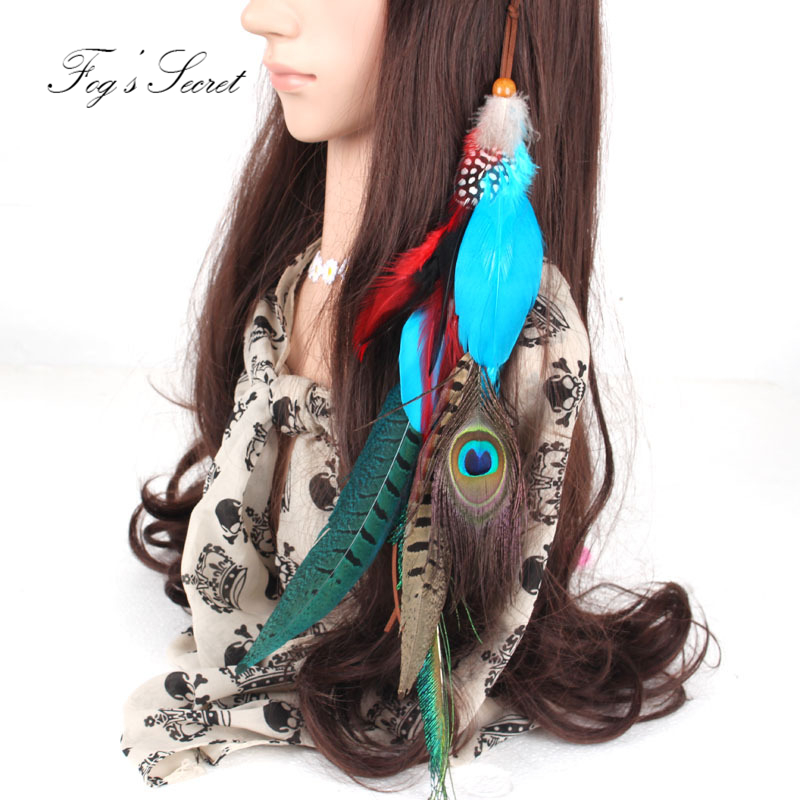 Hair bands for girls Fashion Blue Peacock Feather Headband For Female Man Navelty Photography props