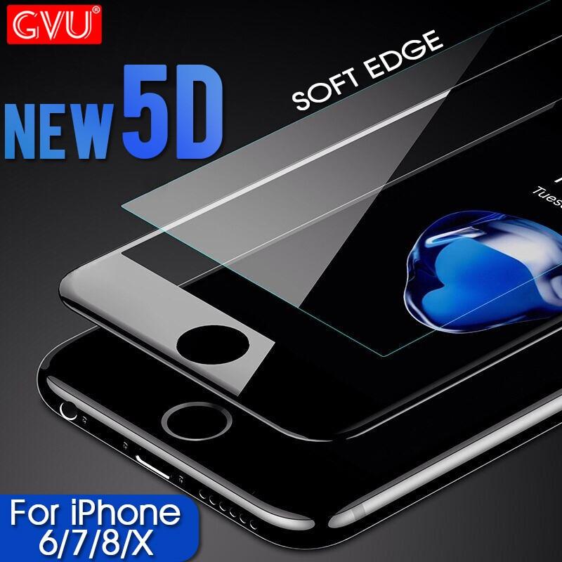 Galleria fotografica GVU 5D carbon fiber Screen Protector For iPhone 6 6S 7 8 Plus Full Tempered Glass Protective For iPhone X 8 7 6 plus Glass Cover
