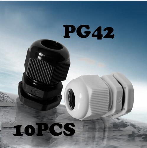 Waterproof nylon plastic cable connector Hot Sale 10PCS PG42 Black Or White Plastic Connector Waterproof Cable Glands Ip68 China