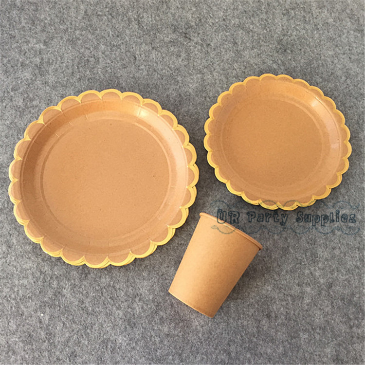 16 Sets Kraft Brown Paper Cups Gold Foil Scallop Dinner Plates Wedding Snack Dishes Engagement