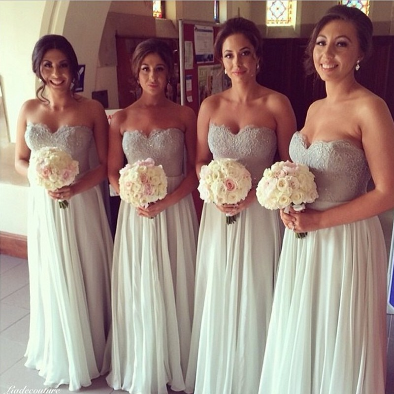 Gorgeous Crystal Beaded Lace Bridesmaid Dresses Peach Ivory Pink