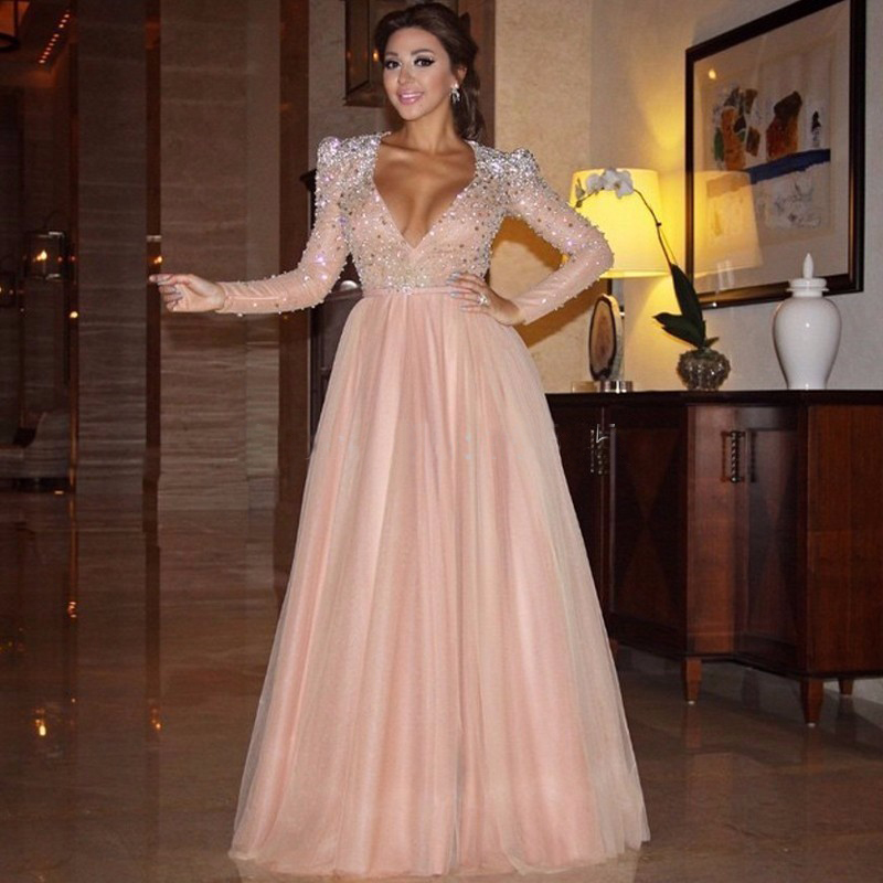 Crystal Long Sleeve Peach Prom Dresses
