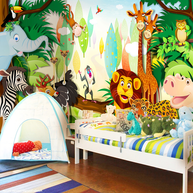 цены Custom 3D Wall Mural Wallpaper Cartoon Animals World For Children Lion Elephant Monkey Photo Wallpaper Kids' Bedroom TV Backdrop