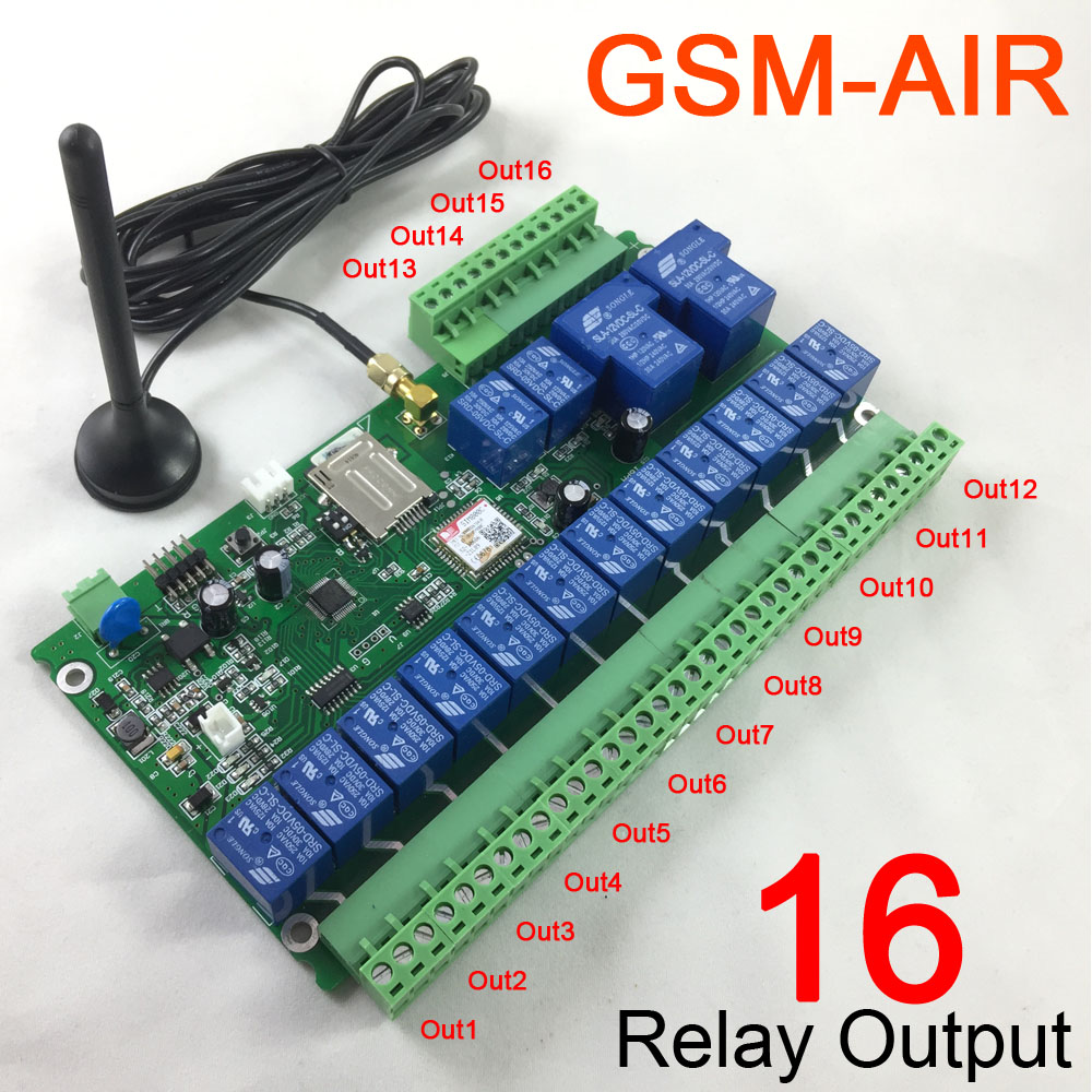 Free shipping 16 channel Ouput GSM remote control relay switch board battery for power off alarm (not in normal package) цена