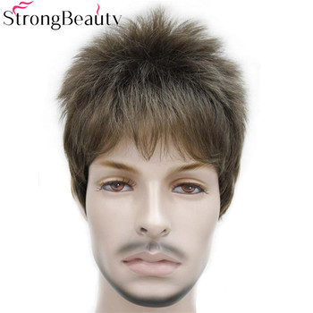 StrongBeauty وهمية الاصطناعية الأسود القصير البني الذهب فتى الرجال الطلاب الشعر تأثيري الباروكات