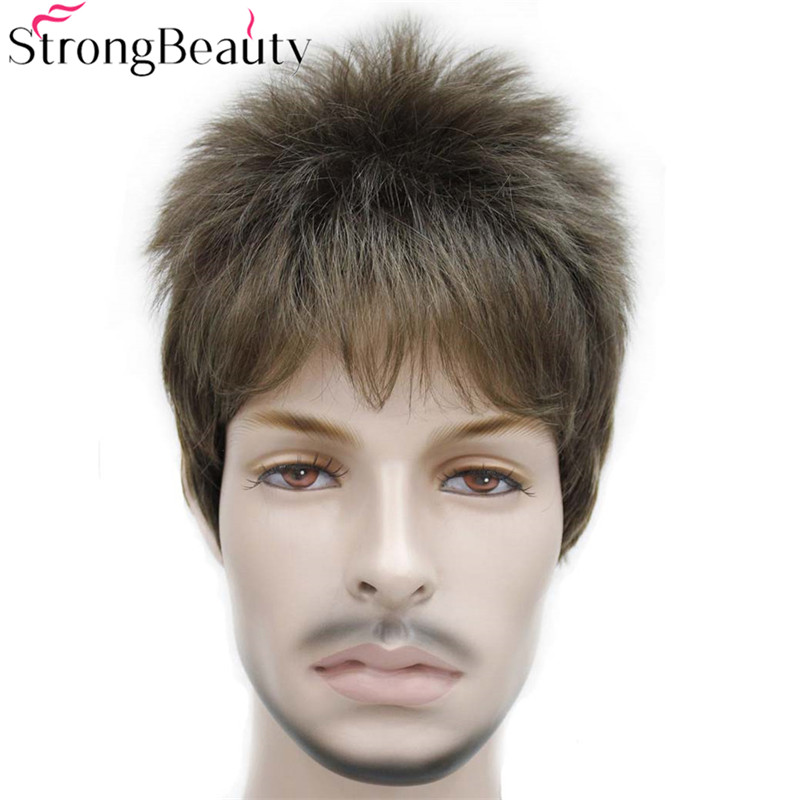 StrongBeauty Fake Synthetic Short Black Brown Gold Boy Wig Men Students Hair Cosplay Wigs