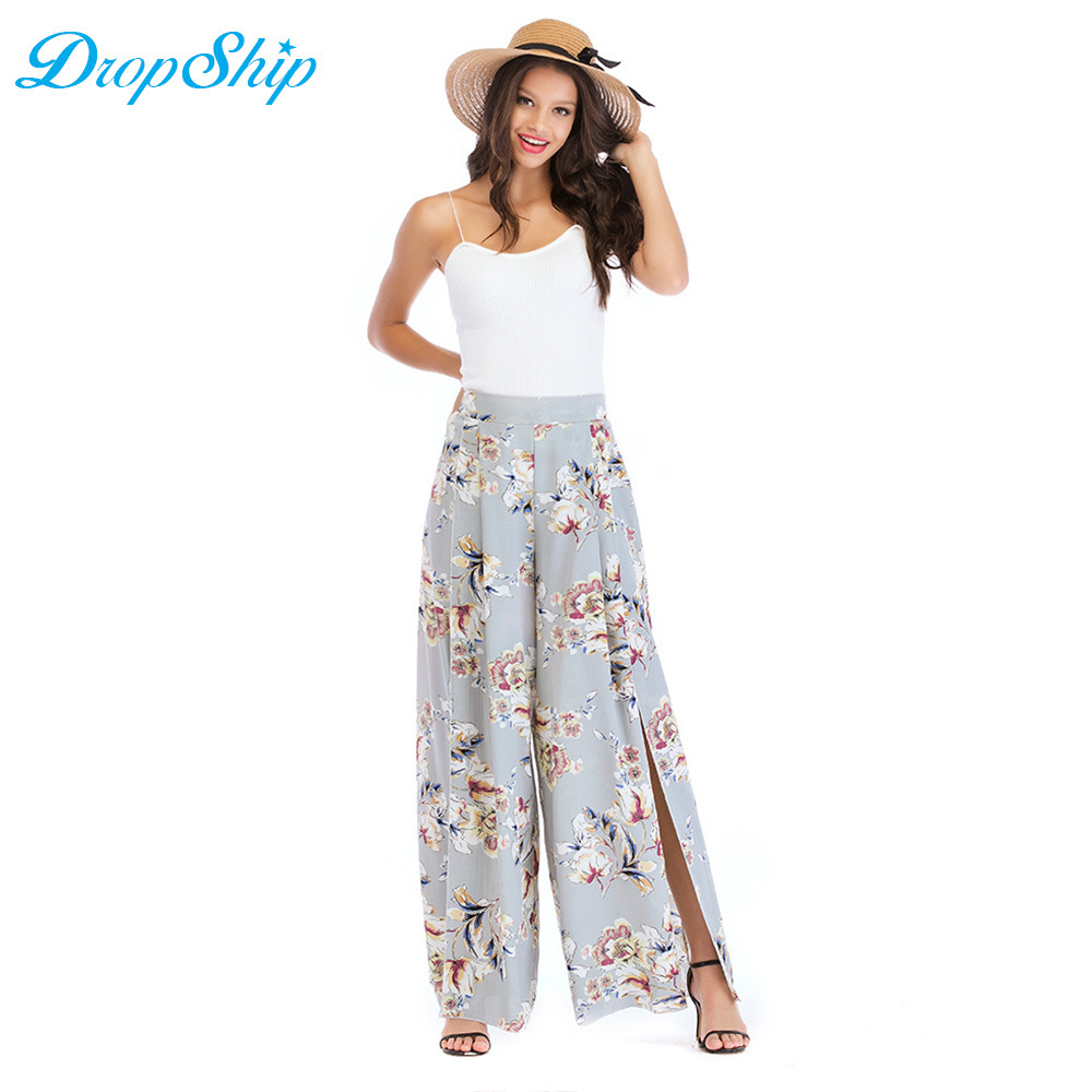 Women Pants Ladies Trouser Beach Summer Chiffon Pants Casual Trouser Palazzo