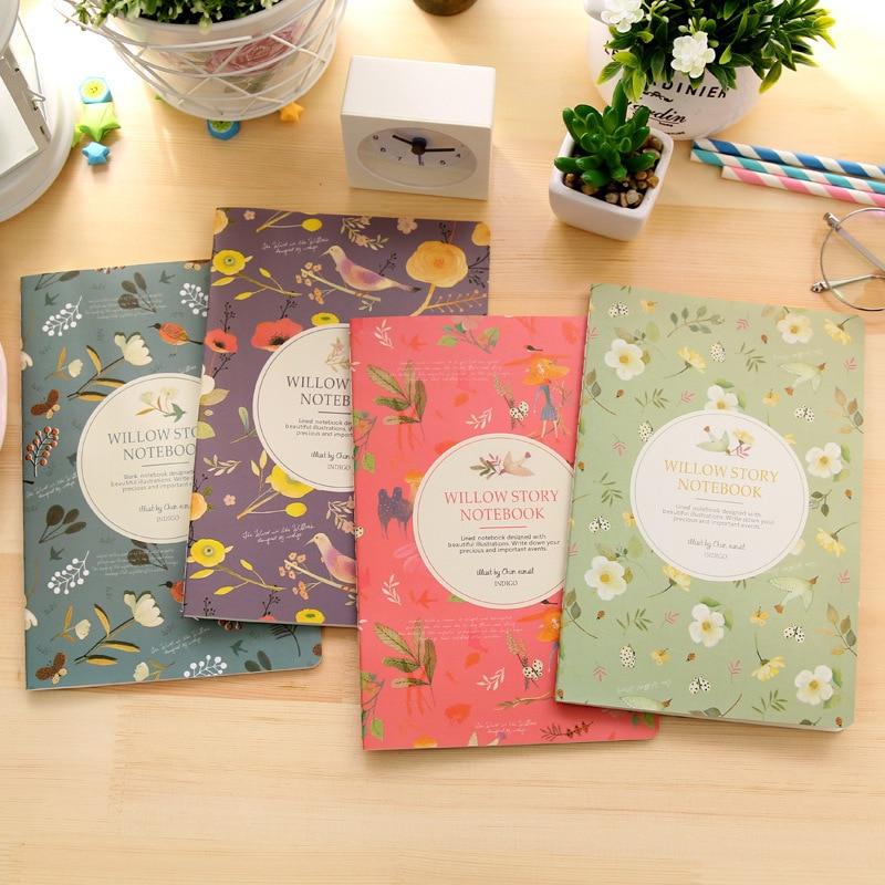 Papelaria Kawaii Bonito Flores Aves caderno A5 Notepad 32 folhas Pintura De Diário Livro Jornal Registro Material Escolar Escritório