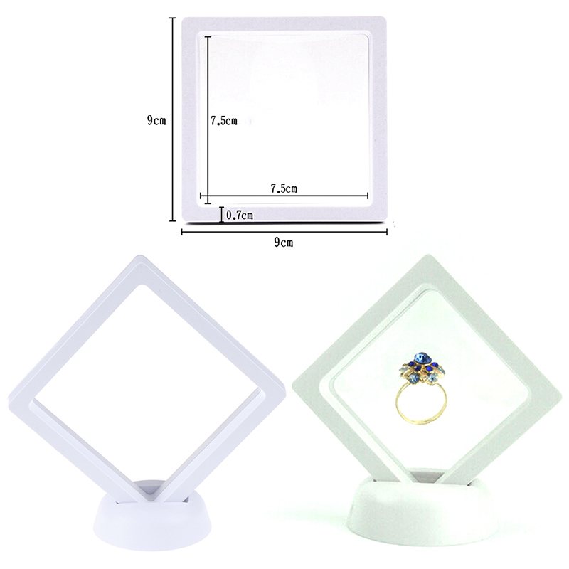 90*90mm White 3D Floating Jewelry Coin Display Frame Holder Box Case Stand