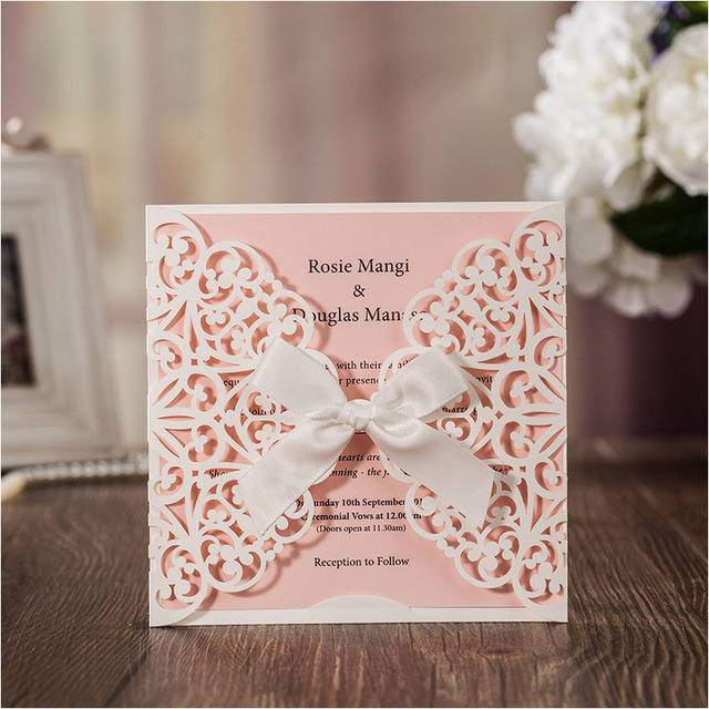 50pc Blank Wedding invitation cards 2017 bowknot laser cut birthday