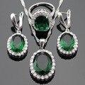 Criado verde Esmeralda CZ Branco Cor Prata Conjuntos De Jóias de Noiva Brincos/Pingente/Colar/Anéis Para Mulheres Livres Caixa de presente