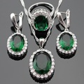 Green Created Emerald White CZ Silver Color Bridal Jewelry Sets Earrings/Pendant/Necklace/Rings For Women Free Gift Box