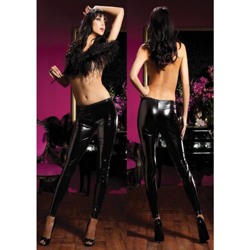 2017 Hot Sale Women Faux Leather Mid Waist Fashion Lady Beauty Patchwork Cute Vinyl Leggings