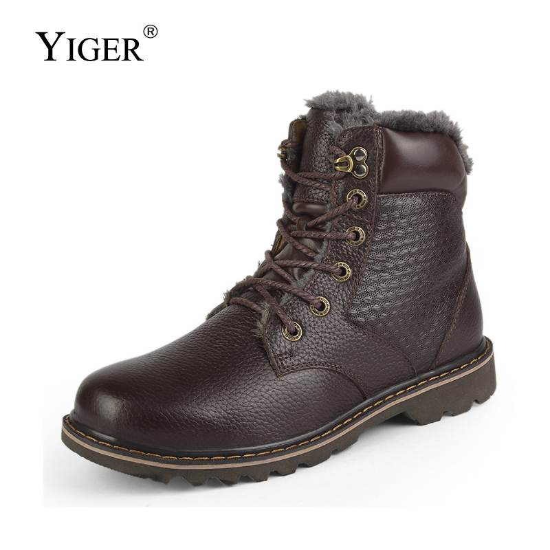 YIGER New Men Snow boots Winter Cotton boots Genuine Leather Tooling shoes Big Size 36 48