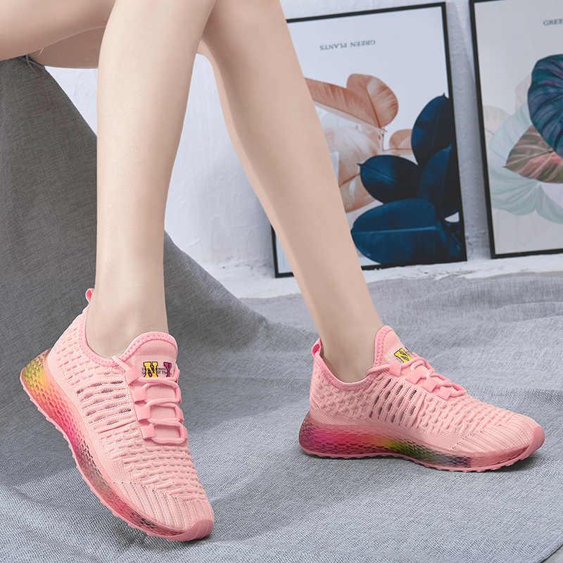 2019 zapatillas de deporte para mujer zapatos de plataforma de gelatina con cordones negro Rosa Off blanco zapatillas de tenis zapatos de papá para mujer T7003 talla 35 -40