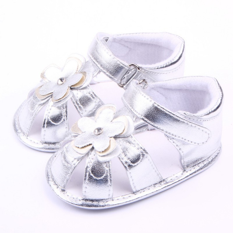 Baby Toddler Flower Walking Sandals Kid Girl Pu Leather Slip-On Crib Shoes Summer Children Sandals For Girls