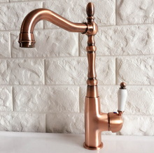 цена на Antique Red Copper Brass Bathroom Kitchen Basin Sink Faucet Mixer Tap Swivel Spout Single Handle One Hole Deck Mounted mnf419