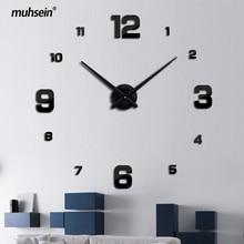 Freeshipping 2017New Home decoration big mirror wall clock modern design 3D DIY large decorative wall clocks watch unique gift