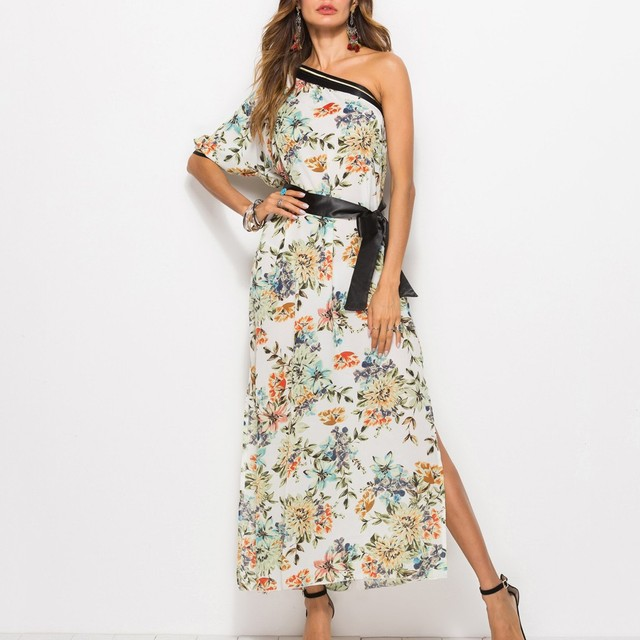 Sexy summer clothes for Womens vestido de festa longo Fashion Casual One Shoulder Bohemia Floral Print Backless Long Dress #508