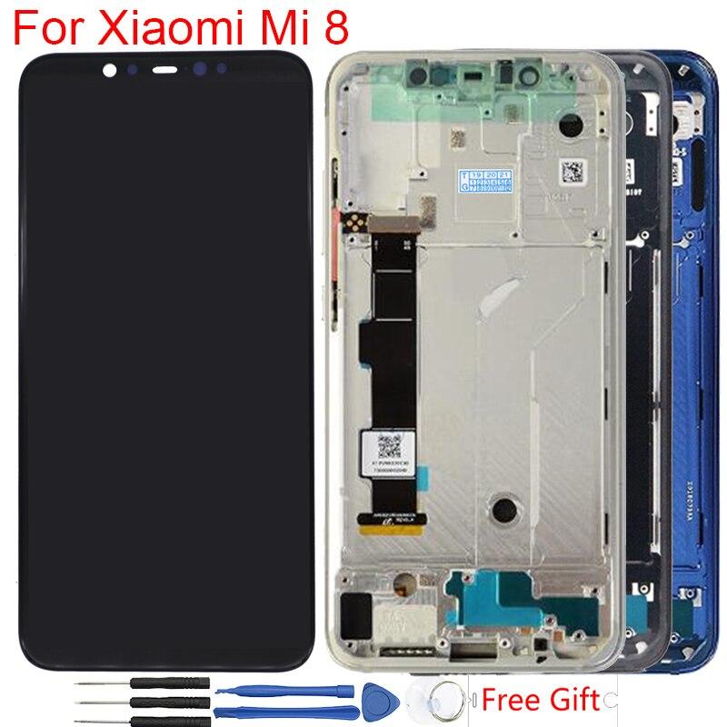 D'origine Super Amoled Pour Xiao mi mi 8 Affichage D'empreintes Digitales Avec Cadre ensemble numériseur à écran tactile de Remplacement mi 8 écran lcd