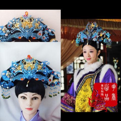 TV Play Legend of Zhen Huan Princess Huafei Same Design Blue Dian Cui Hair Tiaras  costume hair accessory tv play the virtuous queen of han princess pingyang hanfu costume hair tiaras hair jewelry