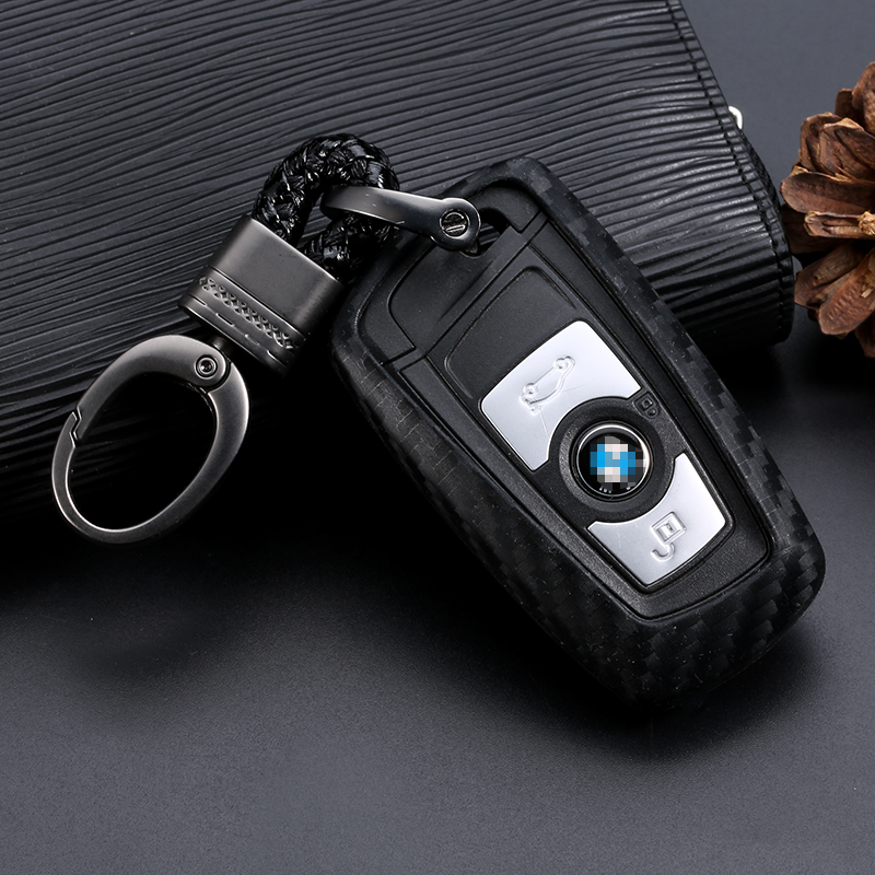 Carbon Fiber Silicone Key Cover Case Keychain For BMW 520 525 730li 740 118 320i 1 3 title=