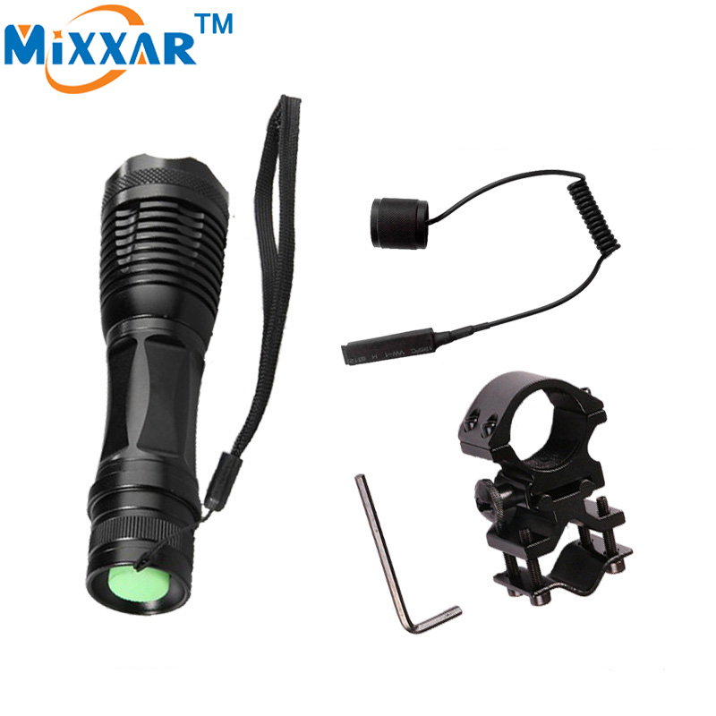 RUZK5 CREE XM-L T6 4000Lm LED tactical flashlight 5 modes Adjustable led lamp torch with Pressure Remote Switch and Gun Mount 3800 lumens cree xm l t6 5 modes led tactical flashlight torch waterproof lamp torch hunting flash light lantern for camping z93