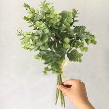 6 шт. эвкалипта пластиковые искусственные листья для дома Рождественские Свадебные украшения маленькая искусственная листва поддельные деньги лист завод