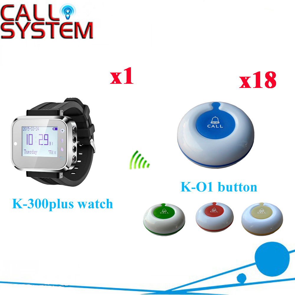 Table Calling Bell System Restaurant Wireless Table Bell Guest Button With Watch Pager Receiver(1 watch+18 call button) 1 watch receiver 8 call button 433mhz wireless calling paging system guest service pager restaurant equipments f3258