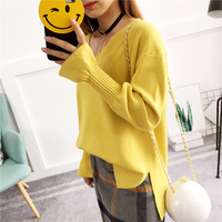 Bei Dan Pullover 2017 Female Hitz Korean Students All Match V Loose Collar Sleeve Sweater