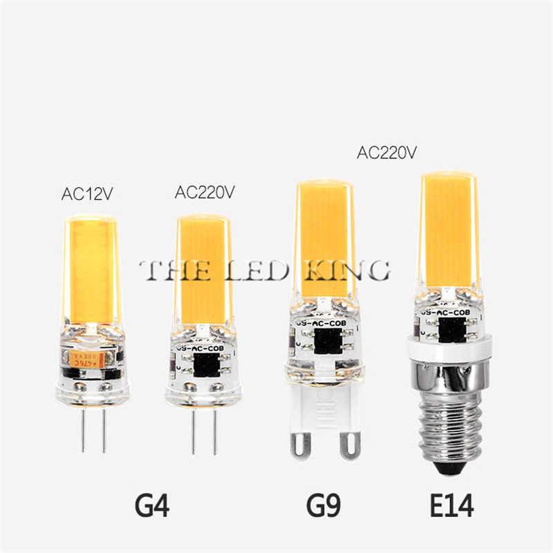 Светодиодный G4 G9 лампочка переменного/постоянного тока с затемнением 12 В 220 В 3 Вт 6 Вт COB SMD светодиодный светильник, заменяющий галогенный прожектор, люстра на 360 градусов