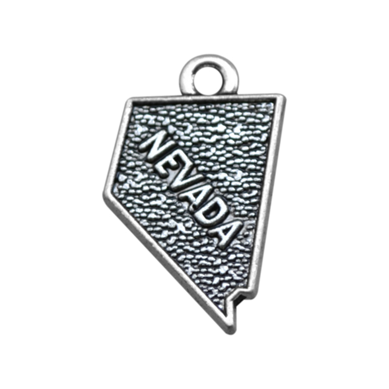 2 Style 30PCS Silver Nevada State Map Dangle Charms DIY for Bracelet&Necklace Jewelry Wholesale