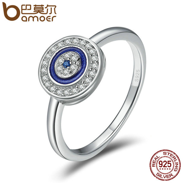 BAMOER Authentic 100% 925 Sterling Silver Lucky Blue Eyes Women Finger Ring  Wedding   Engagement Jewelry Ring SCR208 5ff919779f7b