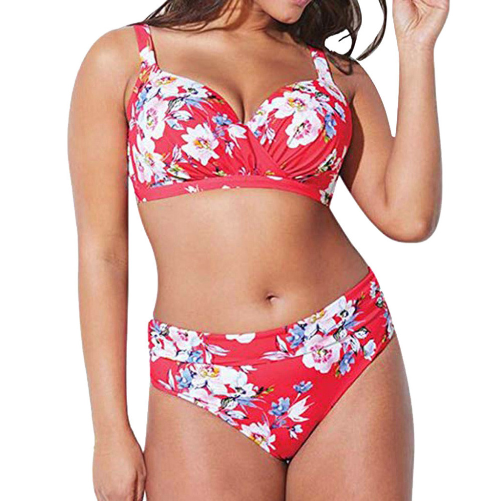 Sexy Plus Size 5XL Swimwear Women High Waist Bikini Set Red Floral Swimwear Large Size Ladies Swimsuit Swimming Suit Women #E