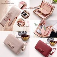 1PCS 2017 Women Style Functional PU Leather Wallet Case Phone Pouch Bag For IPhone 4 5