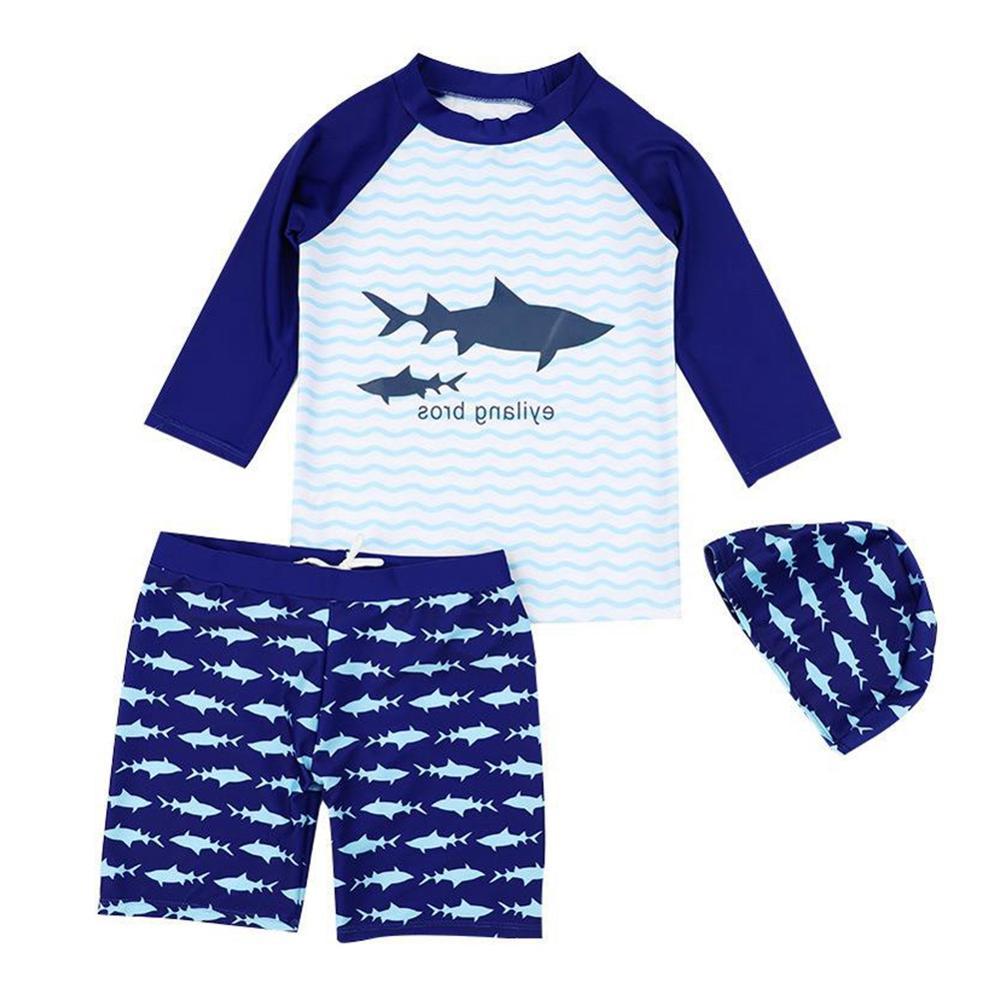 Long Sleeve Swimming Surfing Suit Shark Printed Sunshade Two Piece Ocean Beach Swimsuit Cap Swimwear Set  For Boys Children
