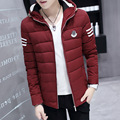 The new winter 2017 young men's cotton stripe hooded cotton-padded clothes
