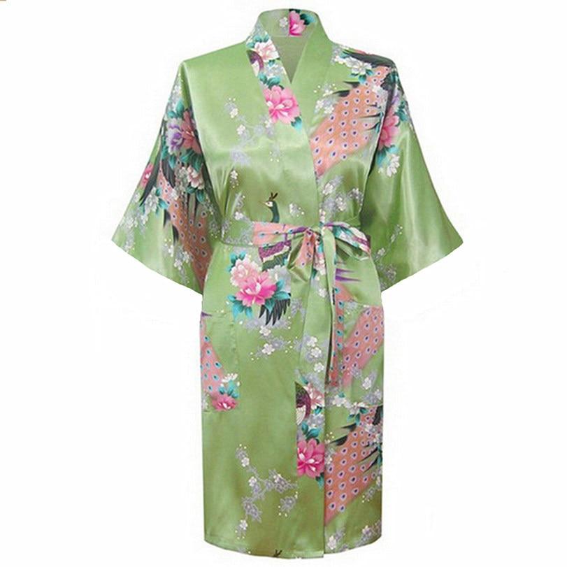 olive drab Fashion Womens Peacock Kimono Bath Robe Nightgown Gown Yukata Bathrobe Sleepwear With Belt S M L XL XXL XXXL KQ-14