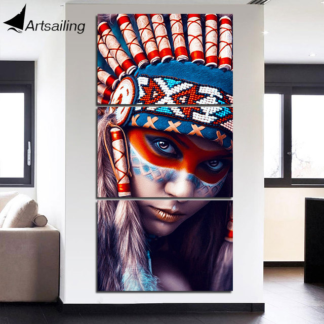 HD Printed 3 Piece Canvas Art Native American Indian Girl Painting  Feathered Wall Art For Living
