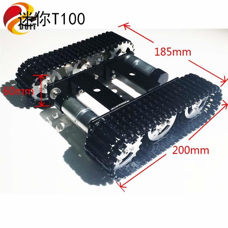 DOIT mini T100 Crawler Tank автокөлік шассиі Робот жарыстары үшін DIY RC ойыншыққа арналған смарт автокөлікке ие болды
