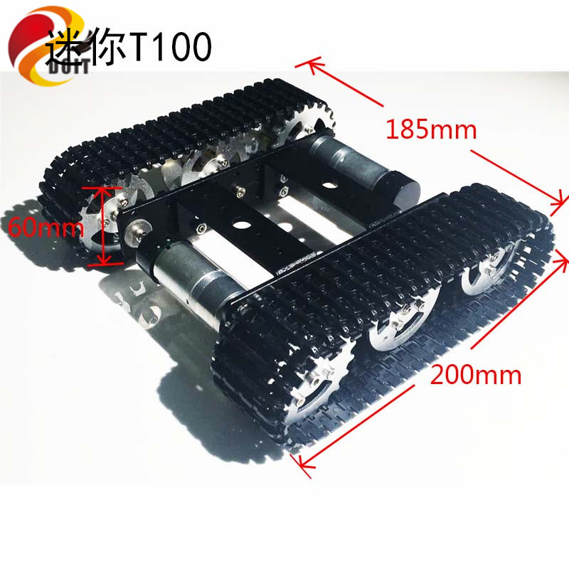 DOIT mini T100 Chassis Kereta Tank Crawler Dilacak Kereta Pintar untuk Pertandingan Robot DIY Toy RC