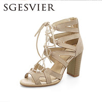 SGESVIER Women Sandals 2017 Summer New Casual Party Elegant Peep Toe Lace Up Square Heel Lady