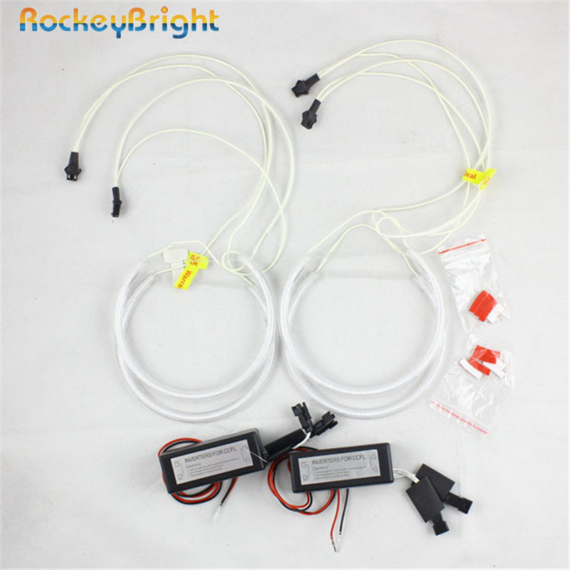 Rockeybright 4*131mm Car CCFL Halo Rings Xenon Halogen Projector For BMW E46 E36 E38 E39 auto ccfl led angel eyes headlight lens